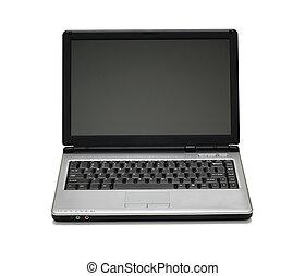 열린 휴대용 개인 컴퓨터, 에서, 그만큼, 백색, backgroun