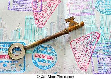 열쇠, 통하고 있는, 여권, 가득하다, 의, 은 각인한다