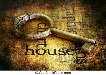 열쇠, 통하고 있는, 주택, grunge, 배경