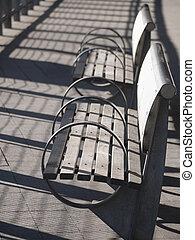 열, 의, 옥외, benches.