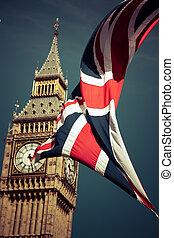 영국, 기, 바람에서, 안에서 향하고 있어라, 빅 벤, 런던, uk