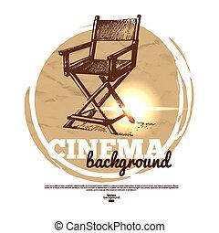 영화, 영화관, 기치, 와, 손, 그어진, 밑그림, 삽화