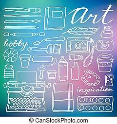 예술 공급, set., 벡터, 삽화