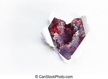 예술, 꽃다발, 의, 빨간 장미, 와..., 그만큼, 종이, 심혼