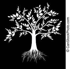 예술, 나무, 실루엣