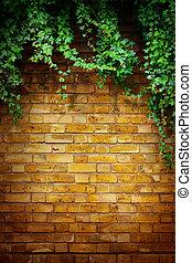 예술, 나무, 에서, 냄비 따위 하나 가득, 와, 벽돌 벽, 배경