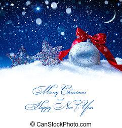 예술, 눈, 크리스마스 훈장, 마술, 은 점화한다, 배경