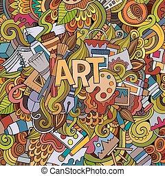 예술, 손, 자체, 와..., doodles, 성분, 배경