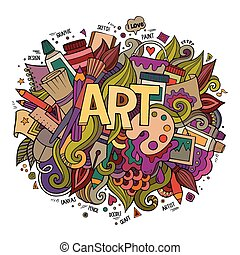 예술, 손, 자체, 와..., doodles, elements.