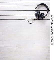 예술, 음악 스튜디오, 배경, 와, dj, 헤드폰