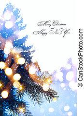 예술, 크리스마스, 휴일, background;, 나무, 빛