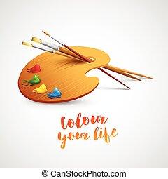 예술, 팔레트, 와, 페인트 붓, 와..., 연필, 도구, 치고는, drawing., 벡터, 삽화