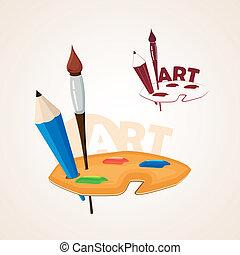 예술, 팔레트, 와, 페인트 붓, 와..., 연필
