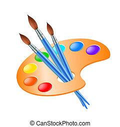 예술, 팔레트, 와, 페인트 붓, 치고는, 그림