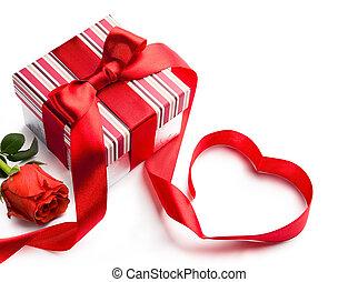 예술, day;, 선물, 휴일, 상자, 연인