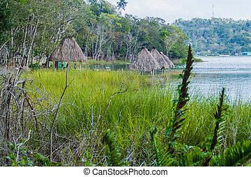 오두막, 에, peten, itza, 호수, guatema