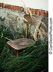 오래 되는 나무로 되는 의자, 와..., 풀, 에서, 뒤뜰, 배경에, 의, 노인들, 집, 에서, 마을, 평화로운, 평온, 여름, 순간