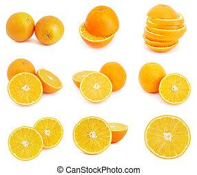 오렌지, 세트, 과일