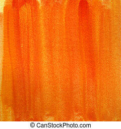 오렌지, 수채화 물감, 노란 배경