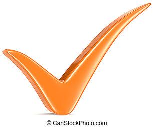 오렌지, 수표, mark.