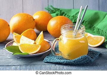 오렌지, 신선한, 누르는, 주스