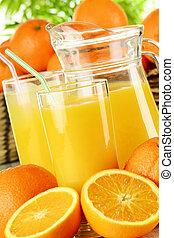 오렌지 주스, 안경, 과일