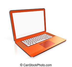 오렌지, 휴대용 컴퓨터, 고립된, 백색 위에서
