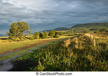 오스트레일리아 사람, 조경술을 써서 녹화하다, 와, 농장, 고매하다, 후에, 폭풍우