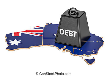 오스트레일리아 사람, 한 나라를 상징하는, 빚, 또는, 예산, 적자, 재정, 위기, 개념, 3차원, 지방의 정제