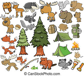 옥외, 야생 생물, 벡터, 세트, 야영