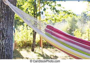 옥외, 해먹, 여름, 개념