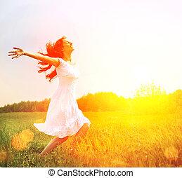 옥외, enjoyment., nature., 비어 있는, 여성 소녀, 즐기, 행복하다