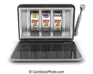 온라인의, 노름하는, concept., 휴대용 퍼스널 컴퓨터, 마룻바닥의 구멍 뚜껑, machine.