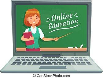 온라인 교육, 와, 물건과 구별하여 사람의, teacher., 교수, 깨닫게 하다, 컴퓨터, technology., 학교, 칠판, 고립된, 통하고 있는, 휴대용 퍼스널 컴퓨터, 벡터, 삽화
