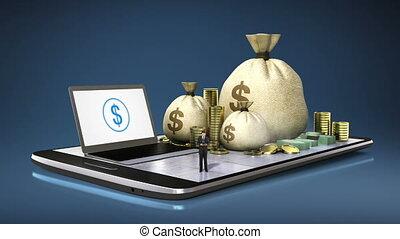 온라인 은행업무, 대부, 경리, 통하고 있는, 똑똑한, 전화, 똑똑한, 덧대는 물건, mobile.