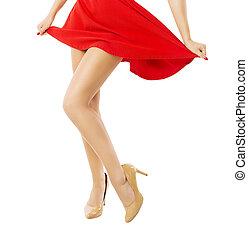 올라가고 있는., 춤추고 있는 여성, 고립된, 배경, 끝내다, 백색, 다리