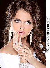 올라가고 있는., jewelry., 유행, hairstyle., 아름다움, 사진, 만들다, 브루넷의 사람, portrait., 스튜디오, 소녀, 모델