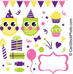 올빼미, 생일 파티, 디자인 성분, 고립된, 백색 위에서