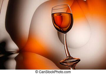 와인의 글래스, 통하고 있는, 떼어내다, 배경