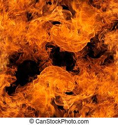 완전한, 불, 통하고 있는, 검은 배경