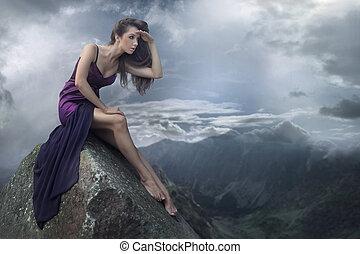완전한, 브루넷의 사람, 아름다움, 통하고 있는, a, 산