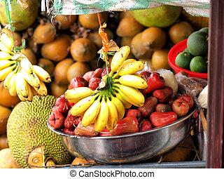 외래의, 시장, 아시아 사람, 과일