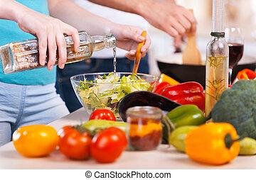 요리, 함께., 상세한 묘사, 의, 한 쌍, 음식을 조리하는 것, 함께
