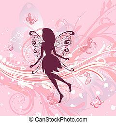 요정, 소녀, 통하고 있는, a, 공상에 잠기는, 꽃의, 배경