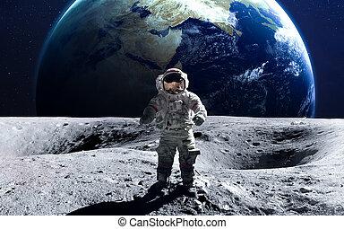 용감한, 심상, nasa., 성분, moon., 이것, 우주 비행사, 공급된다, spacewalk