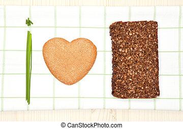 우리, 사랑, 건강한, 음식.