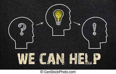 우리, 양철통, 도움, -, 그룹, 의, 3 사람, 와, 물음표, cogwheels, 와..., 전구, 통하고 있는, 칠판, 배경