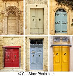우아한, 늙은, 문, 수집, 심상, 에서, 몰타, 와..., gozo, 섬