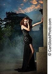 우아한, 여자, 에서, 검은 드레스