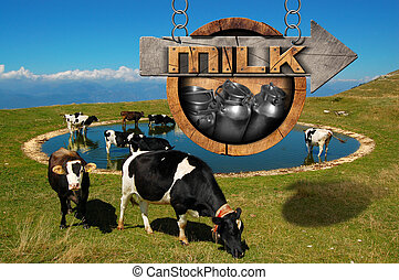 우유, -, 멍청한, 표시, 와, 목초, 암소